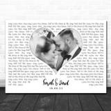 Landscape White Heart Any Text Wedding Photo Any Song Lyric Wall Art Print