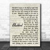 The Beatles Blackbird Song Lyric Music Wall Art Print