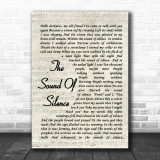 The Sound Of Silence Simon & Garfunkel Song Lyric Vintage Script Music Wall Art Print