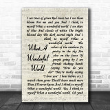 What A Wonderful World Louis Armstrong Song Lyric Vintage Script Music Wall Art Print