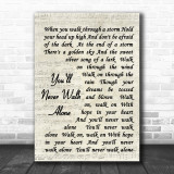 You'll Never Walk Alone Gerry And The Pacemakers Song Lyric Vintage Script Music Wall Art Print