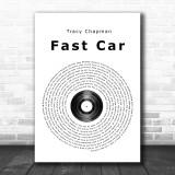 Tracy Chapman Fast Car Vinyl Record Song Lyric Music Wall Art Print