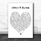 I Have A Dream ABBA Heart Song Lyric Music Wall Art Print