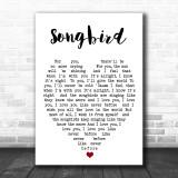 Songbird Fleetwood Mac Song Lyric Heart Music Wall Art Print