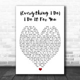 (Everything I Do) I Do It For You Bryan Adams Song Lyric Heart Music Wall Art Print