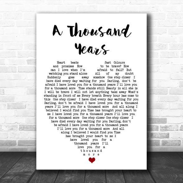 A Thousand Years Christina Perri Song Lyric Heart Music Wall Art Print