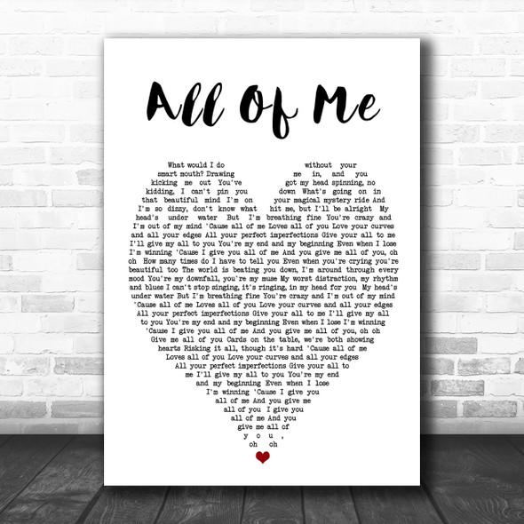 All Of Me John Legend Heart Song Lyric Music Wall Art Print