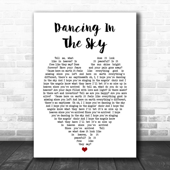 Dani And Lizzy Dancing In The Sky Heart Song Lyric Music Wall Art Print