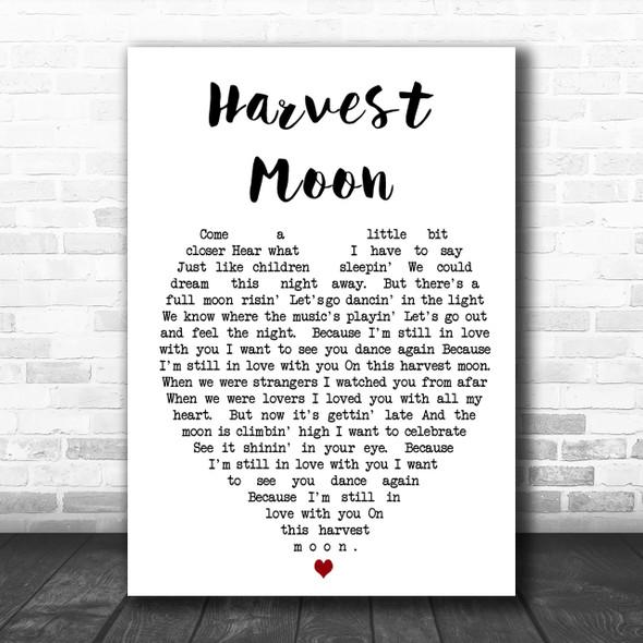 Harvest Moon Neil Young Song Lyric Heart Music Wall Art Print