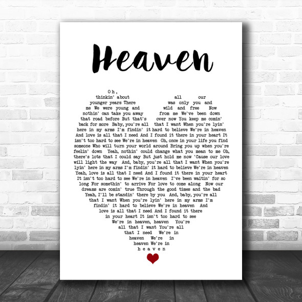 Heaven Bryan Adams Song Lyric Heart Music Wall Art Print