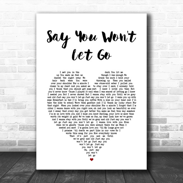 James Arthur Say You Won't Let Go Heart Song Lyric Music Wall Art Print