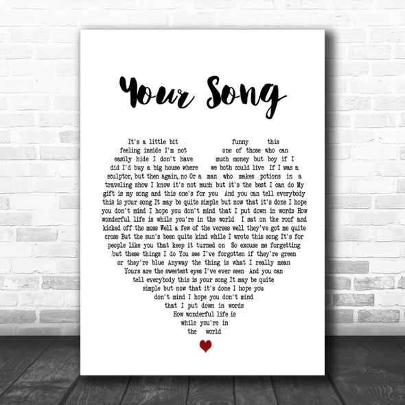 Your Song Elton John Heart Song Lyric Music Wall Art Print