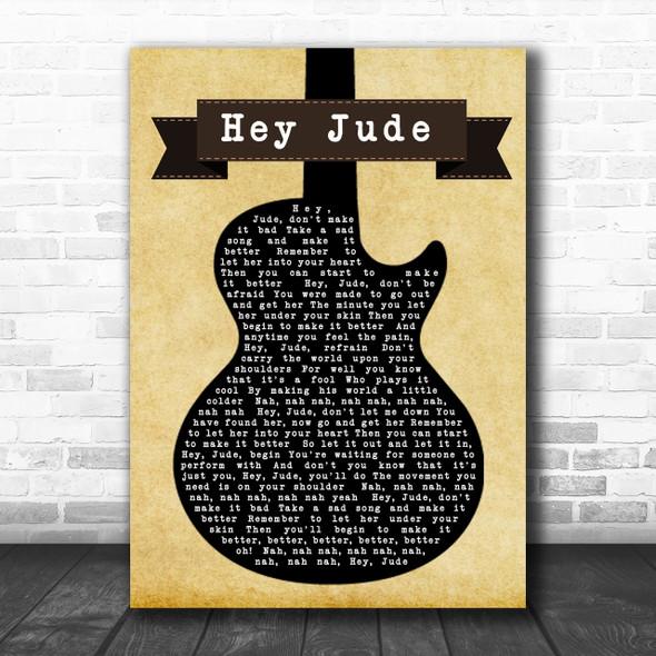 The Beatles Hey Jude Black Guitar Song Lyric Music Wall Art Print