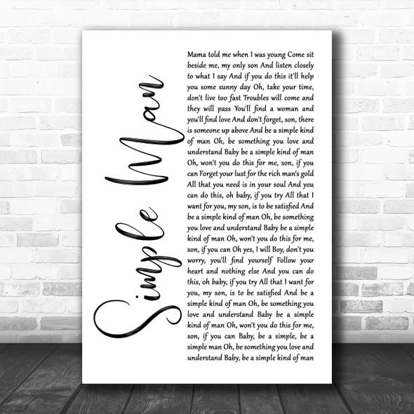 Lynyrd Skynyrd Simple Man White Script Song Lyric Music Wall Art Print