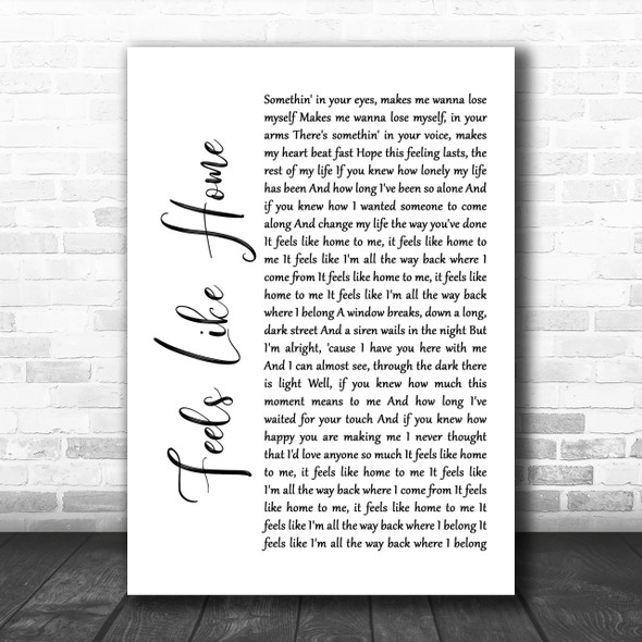 Chantal Kreviazuk Feels Like Home White Script Song Lyric Music Wall Art Print