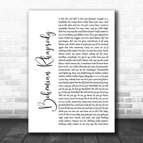 Queen Bohemian Rhapsody White Script Song Lyric Music Wall Art Print