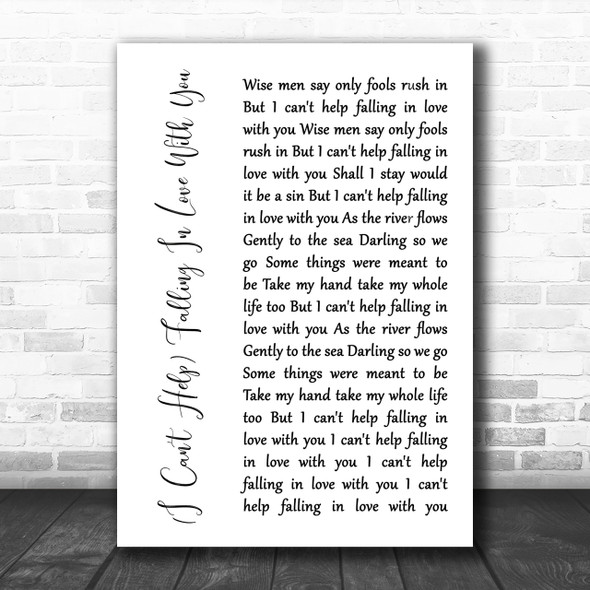 UB40 (I Can't Help) Falling In Love With You White Script Song Lyric Music Wall Art Print