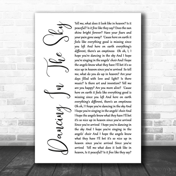 Dani And Lizzy Dancing In The Sky White Script Song Lyric Music Wall Art Print