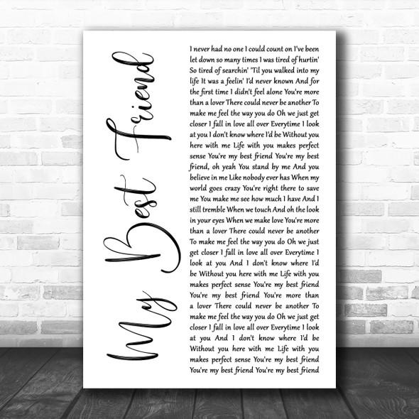 Tim McGraw My Best Friend White Script Song Lyric Music Wall Art Print