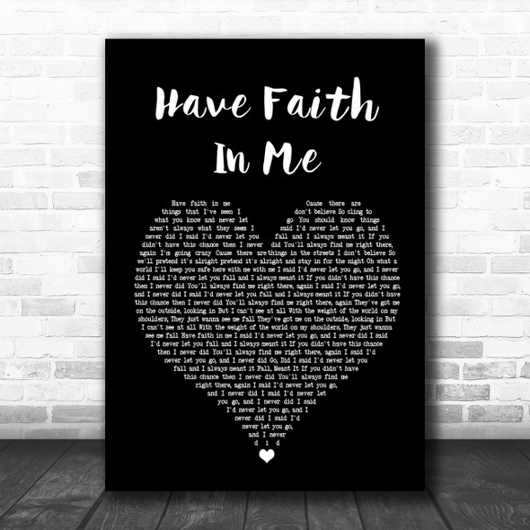 A Day To Remember Have Faith In Me Black Heart Song Lyric Quote Print