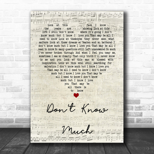 Aaron Neville and Linda Ronstadt Don't Know Much Script Heart Song Lyric Print
