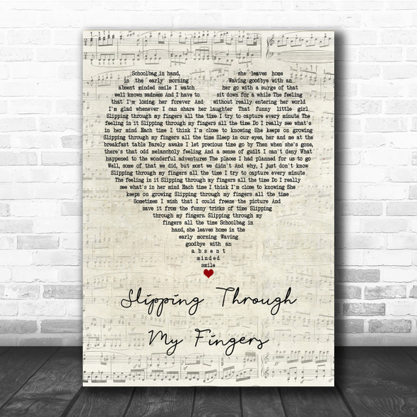 ABBA Slipping Through My Fingers Script Heart Quote Song Lyric Print