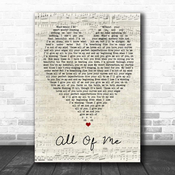 All Of Me John Legend Script Heart Song Lyric Quote Print