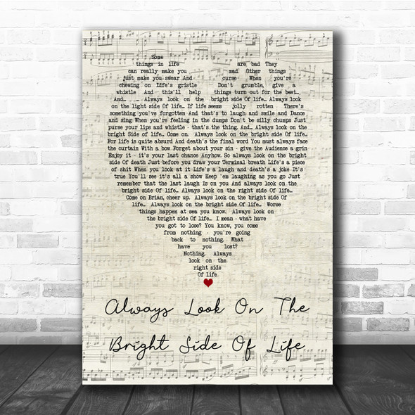 Always Look On The Bright Side Of Life Monty Python Script Heart Song Print