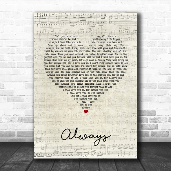 Atlantic Starr Always Script Heart Song Lyric Quote Print