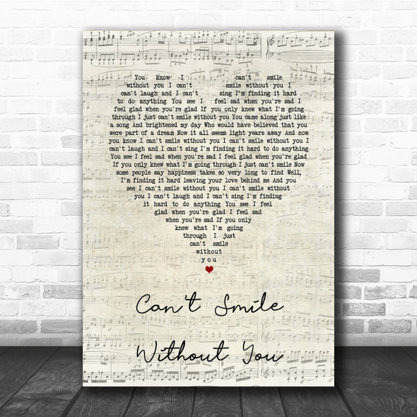 Barry Manilow Can't Smile Without You Script Heart Song Lyric Quote Print