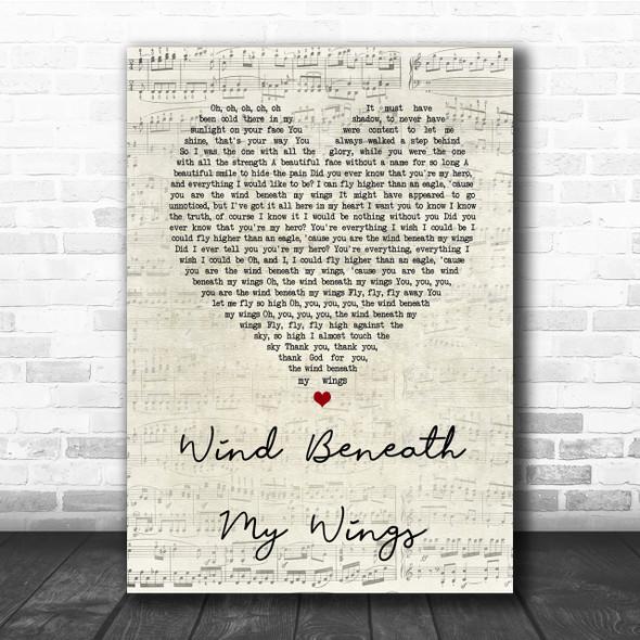 Bette Midler Wind Beneath My Wings Script Heart Song Lyric Quote Print