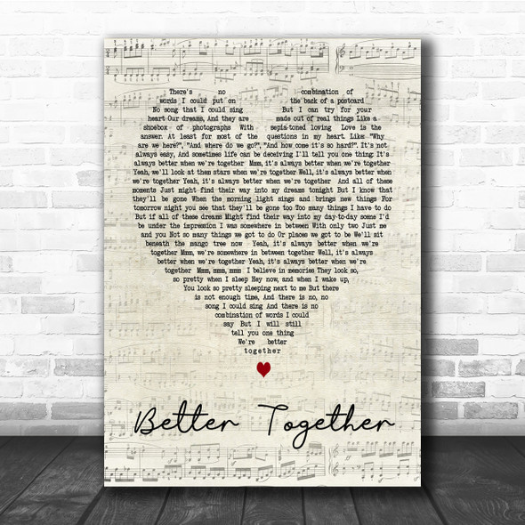 Better Together Jack Johnson Script Heart Song Lyric Quote Print