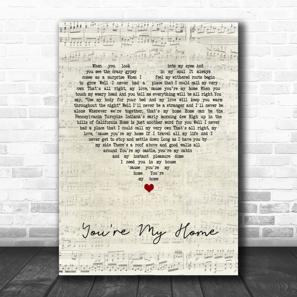 Billy Joel You're My Home Script Heart Song Lyric Quote Print