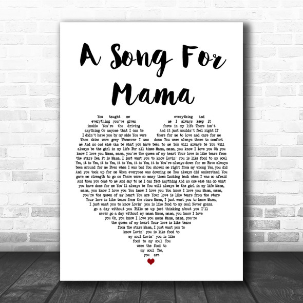 Boyz II Men A Song For Mama Heart Song Lyric Quote Print