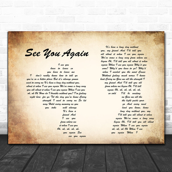 Charlie Puth See You Again Man Lady Couple Song Lyric Quote Print