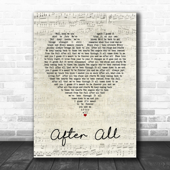 Cher After All Script Heart Song Lyric Quote Print