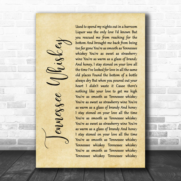 Chris Stapleton Tennessee Whiskey Rustic Script Song Lyric Quote Print