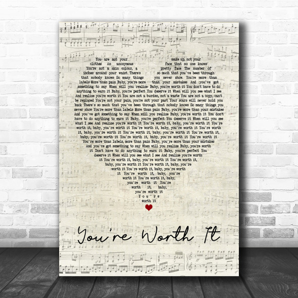 Cimorelli You're Worth It Script Heart Song Lyric Quote Print