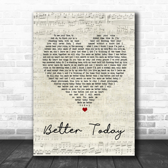 Coffey Anderson Better Today Script Heart Song Lyric Quote Print