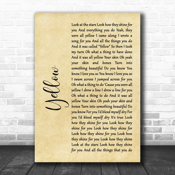 Coldplay Yellow Rustic Script Song Lyric Quote Print