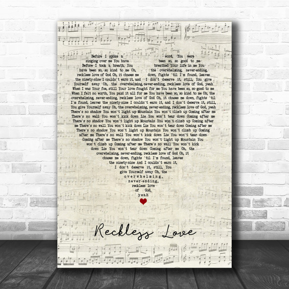 Cory Asbury Reckless Love Script Heart Quote Song Lyric Print