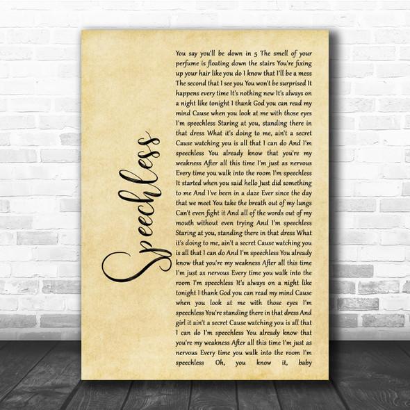 Dan + Shay Speechless Rustic Script Song Lyric Quote Print