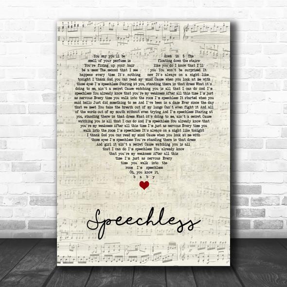 Dan + Shay Speechless Script Heart Song Lyric Quote Print