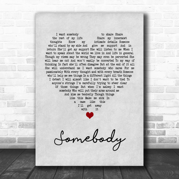 Depeche Mode Somebody Grey Heart Quote Song Lyric Print