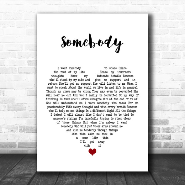 Depeche Mode Somebody Heart Song Lyric Quote Print