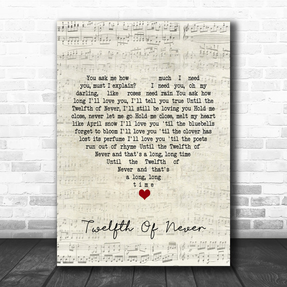 Donny Osmond Twelfth Of Never Script Heart Song Lyric Quote Print