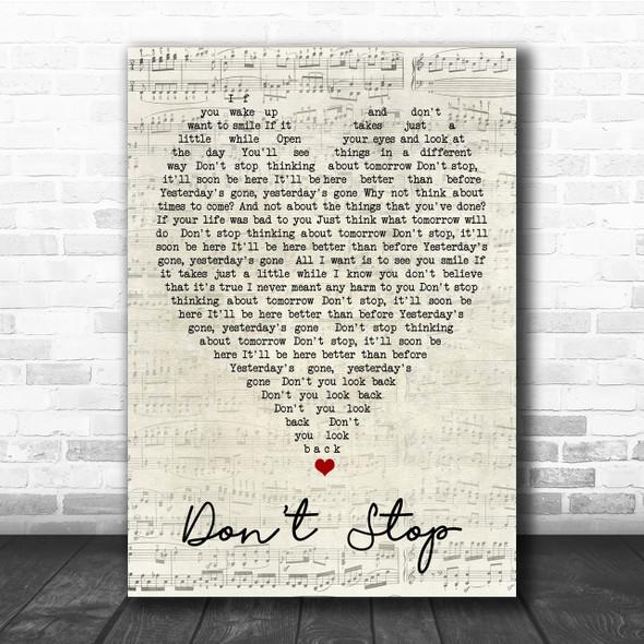 Don't Stop Fleetwood Mac Script Heart Quote Song Lyric Print