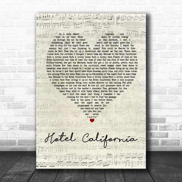 Eagles Hotel California Script Heart Quote Song Lyric Print