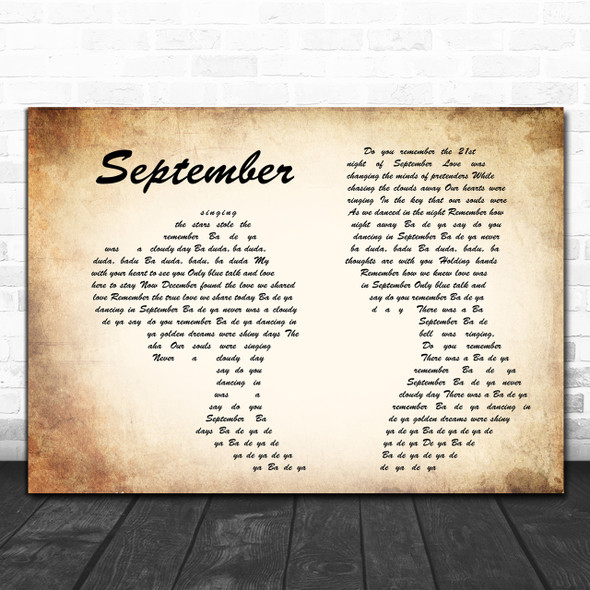 Earth, Wind And Fire September Man Lady Couple Song Lyric Quote Print