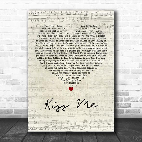 Ed Sheeran Kiss Me Script Heart Song Lyric Quote Print
